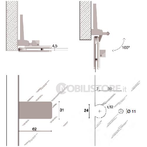 cerniere a scomparsa anta a filo : Cerniera CF01024 per anta in vetro a filo spessore 4,5 mm - Nobili ...