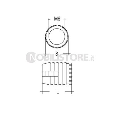 Bussola a pressione ed espansione in nylon per foro Ø 8 mm ...